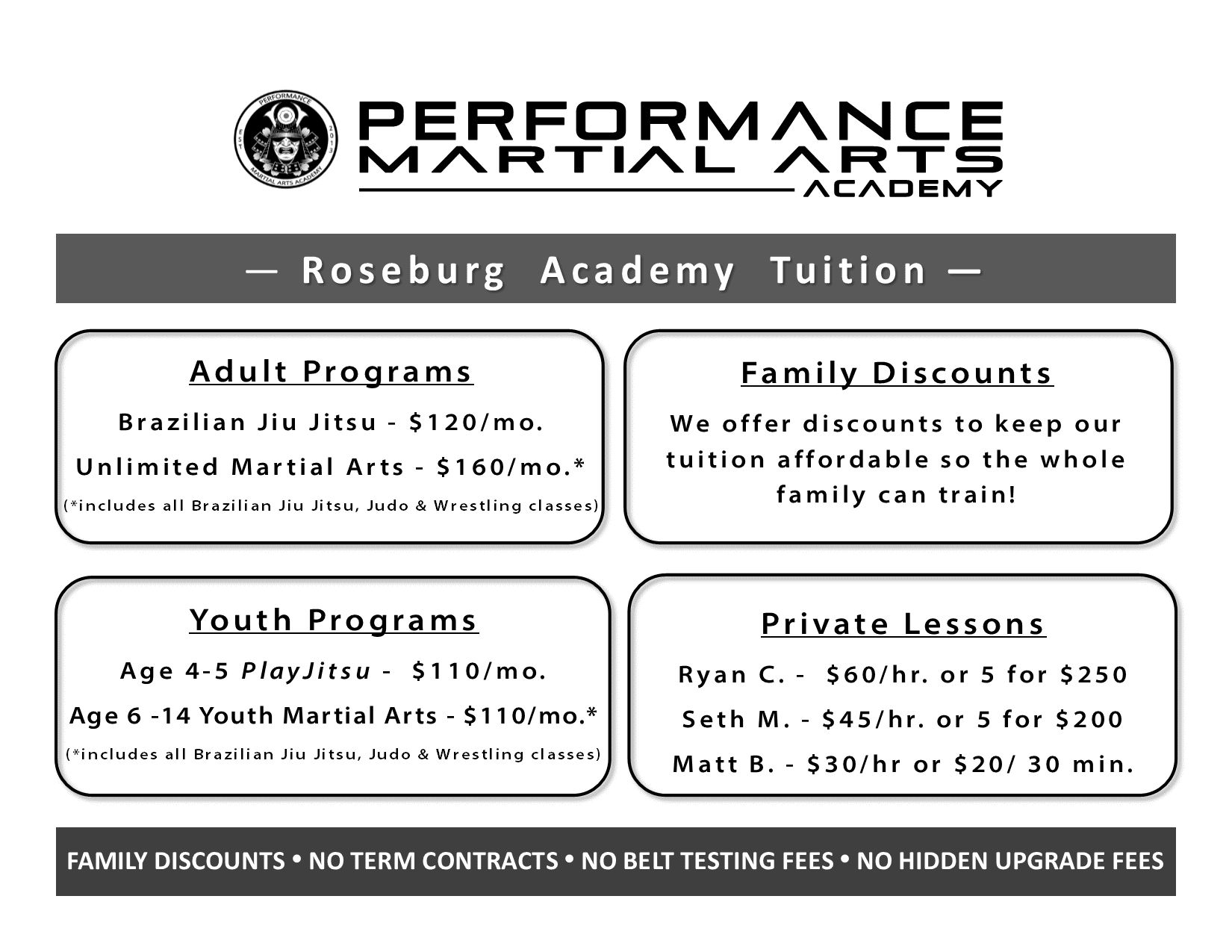 Tuition Pricing Roseburg 2017